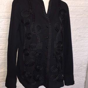 Nexx Black shirt with ribbon trim &Mandarin collar
